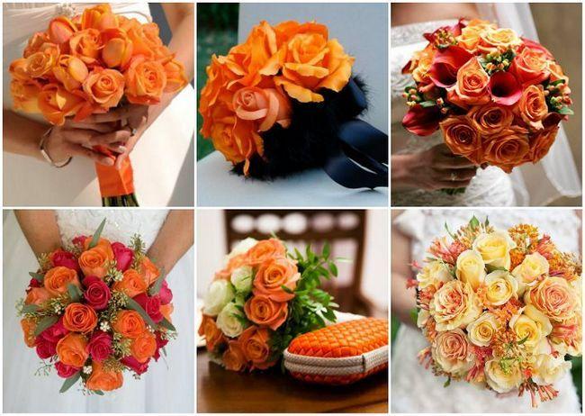 Помаранчевий весільний букет